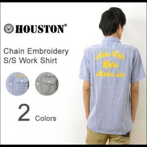 HOUSTON ヒューストン チェーン 刺繍 ジーンコード 半袖 ワーク シャツ メンズ ストライプ 生地 厚手 アメカジ バイカー カジュアル 40160|robinjeansbug