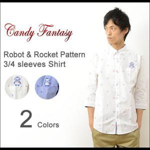 Candy Fantasy キャンディファンタジー ロボット & ロケット 柄 七分袖 シャツ メンズ 総柄 オックスフォード ボタンダウン カジュアル かわいい 16-1200|robinjeansbug