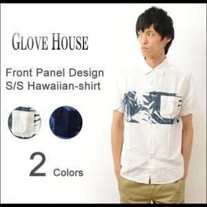 GLOVE HOUSE グローブハウス フロントパネル 切替 半袖 コットン アロハ シャツ メンズ ボタニカル 花柄 アロハ ハワイアン 薄手 カジュアル アメカジ 16FS086G|robinjeansbug