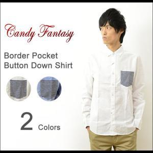 Candy Fantasy キャンディファンタジー ボーダー ポケット ボタンダウン シャツ メンズ 長袖 オックスフォード シンプル 17017|robinjeansbug