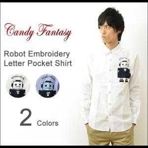 Candy Fantasy キャンディファンタジー ロボット 刺繍 レター ポケット ボタンダウン シャツ メンズ オックスフォード 長袖 シンプル トラッド 17011|robinjeansbug