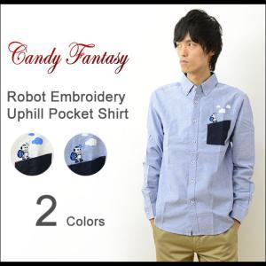 Candy Fantasy キャンディファンタジー ロボット 刺繍 登り坂 ポケット ボタンダウン シャツ メンズ 長袖 オックスフォード シンプル トラッド 17012|robinjeansbug