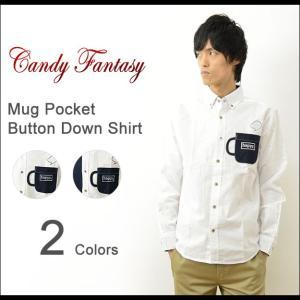 Candy Fantasy キャンディファンタジー マグカップ ポケット ボタンダウン シャツ メンズ 長袖 オックスフォード コーヒー 豆 Happy ハッピー シンプル 17026|robinjeansbug