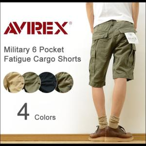 AVIREX アヴィレックス 6ポケット ミリタリー ファティーグ カーゴ ショーツ メンズ アビレックス エアロ 太め チノパン ハーフパンツ 軍パン 6166118 6166119|robinjeansbug