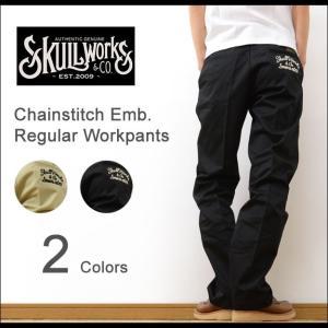 SKULL WORKS スカルワークス チェーンステッチ 刺繍 カスタム レギュラー ワークパンツ メンズ ブランド チノパン ゆったり 太い バイカー バイク 黒 SWRP-01|robinjeansbug