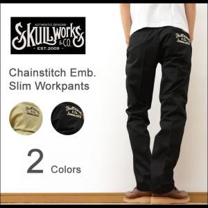 SKULL WORKS スカルワークス チェーンステッチ 刺繍 カスタム スリム ワークパンツ メンズ ブランド チノパン 細身 スキニー バイカー ルード バイク 黒 SWSP-01|robinjeansbug