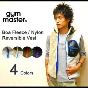 gym master(ジムマスター) モコモコフリース-ナイロンクロス リバーシブルフードベスト フード付き クレイジージップボアフリースベスト 【G321517】|robinjeansbug