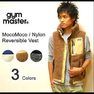 gym master(ジムマスター) もこもこボア素材-ナイロンマウンテンベスト フード付き リバーシブルマウンテンパーカーベスト 【G321509】|robinjeansbug