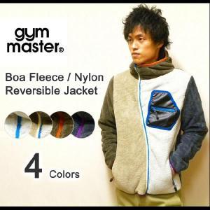 gym master(ジムマスター) モコモコフリース-ナイロンクロス リバーシブルフードジャケット フード付き クレイジージップボアフリースジャケット 【G321516】|robinjeansbug