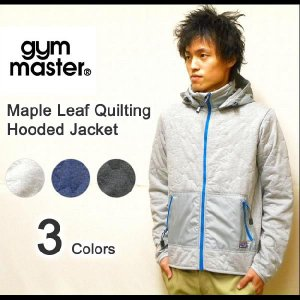 gym master(ジムマスター) スウェット素材 脱着フード付き メイプル型キルティング中綿ジャケット 中綿スウェットフルジップパーカー 【G321526】|robinjeansbug