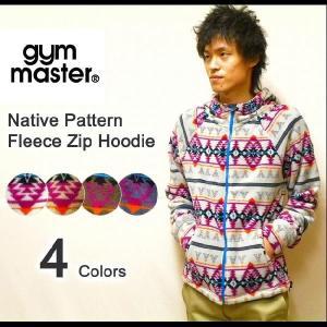 gym master(ジムマスター) ネイティブ柄デザイン フリースパーカー フード付きフリースジャケット 【G321514】|robinjeansbug