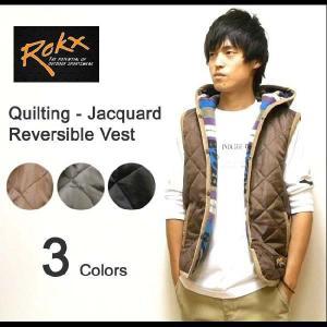 ROKX(ロックス) キルティング仕様-ジャガードフリース リバーシブル中綿ダウンベスト フード付き ネイティブボーダー柄フランネル アウトドア 【10025283】|robinjeansbug