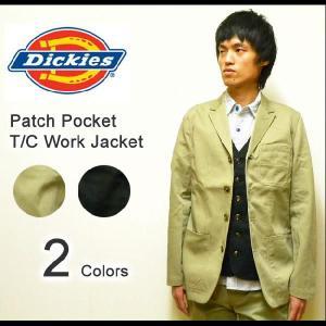 Dickies(ディッキーズ) TCツイル素材 パッチポケット ワークジャケット テーラード襟カバーオール 【1211101】|robinjeansbug