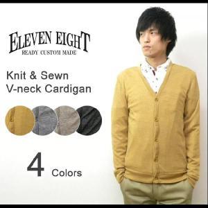 ELEVEN EIGHT(イレブンエイト) Vネック ニットソーカーディガン リブパイピングアクセント 無地ニットカーディガン 【423-062】|robinjeansbug