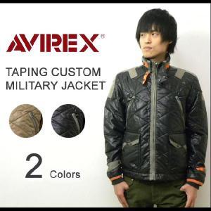 AVIREX(アヴィレックス) TAPING CUSTOM JACKET テーピングカスタムジャケット ミリタリーブルゾン 中綿キルティングジャケット フライトジャケット【6122041】|robinjeansbug