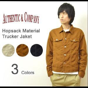 AUTHENTIC&COMPANY(オーセンティックアンドカンパニー) ホップサック素材 トラックジャケット 綿素材 ブルゾン Gジャン 月桂樹ボタン アメカジ 【33-H373】|robinjeansbug