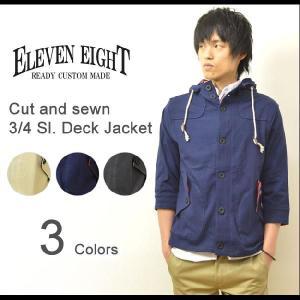 ELEVEN EIGHT(イレブンエイト) カット素材 7分袖 デッキジャケット マリンボーダーアクセント フードパーカー ブルゾン 【521-016】|robinjeansbug