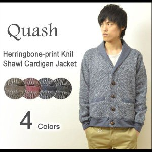 Quash(クワッシュ) ヘリンボーンプリント ニット カーディガン メンズ ショールカラー カーディガン セーター くるみボタン 3632-014|robinjeansbug