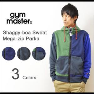 gym master(ジムマスター) メガジップ スウェット パーカー メンズ ジップパーカー 裏ボア シャギーボア カエル 刺繍 袖 アメカジ アウトドア G221355|robinjeansbug