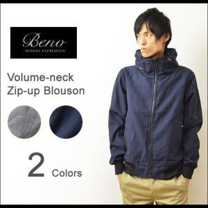 Beno(ビーノ) ボリュームネック ジップ ブルゾン メンズ ジャケット グレンチェック 千鳥柄 ライトアウター 433L9831|robinjeansbug