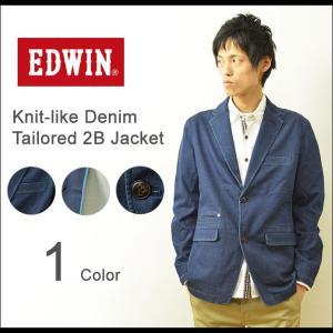 EDWIN(エドウィン) ニットライクデニム テーラードジャケット メンズ 大人のふだん着 大きいサイズ 2つボタン ET1003|robinjeansbug