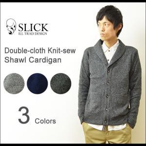 Slick(スリック) ダブルクロス ニットソー カーディガン ジャケット メンズ ショールカラー セーター 細身 タイト キレイめ カジュアル 5168548|robinjeansbug