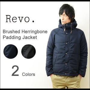 Revo.(レヴォ) へリンボーン 起毛 中綿 ダウンジャケット メンズ フード 無地 プレーン 秋冬アウター スリム タイト 細身 シンプル キルティング レボ TH-2055 robinjeansbug