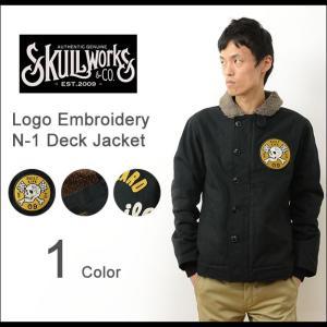 SKULL WORKS スカルワークス ロゴ 刺繍 N-1 デッキ ジャケット メンズ ワッペン カスタム アウター アメカジ バイカー ルード アメリカン バイク 131607|robinjeansbug