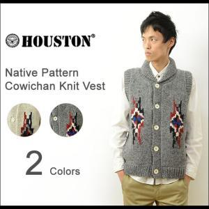 HOUSTON ヒューストン ネイティブ柄 カウチン ニット ベスト メンズ ジレ ショール カラー ウール 羊毛 手編み オルテガ インディアン ネイティブ 21263|robinjeansbug