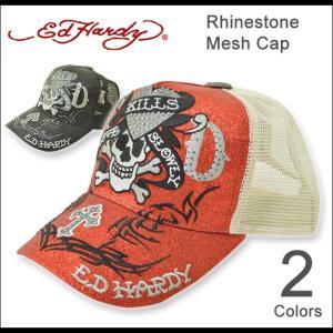 Ed Hardy(エドハーディー) ラインストーン メッシュキャップ メンズ レディース 帽子 ラブキル Love Kill スカル ドクロ ユニセックス 刺繍 正規品 EDCP001|robinjeansbug