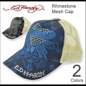 Ed Hardy(エドハーディー) ラインストーン メッシュキャップ メンズ レディース キャップ 帽子 ラブキル Love Kill スカル ドクロ ハート 刺繍 正規品 EDCP002|robinjeansbug