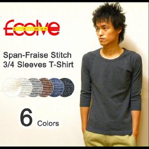 Ecolve(エコルブ) スパンフライス ラグラン七分袖 無地Tシャツ|robinjeansbug