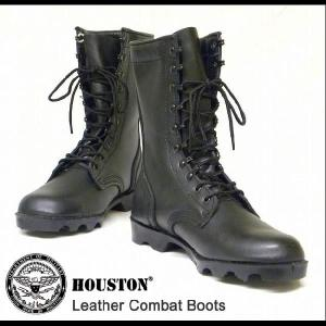 HOUSTON(ヒューストン) 本革レザー 10ホールコンバットブーツ 革靴 レースアップ ロングミリタリーブーツ 本皮 【6569】|robinjeansbug