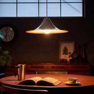 送料無料 Rona ロナ M ホワイト 白 ペンダントライト 北欧 カフェ ミッドセンチュリー モダン LED対応 天井照明 ラッパ型 ナチュラル インダストリアル|rocca-clann|12