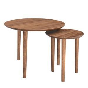 送料無料 TNC ウォールナットラウンドネストテーブル 北欧モダン ナチュラルモダン ウォルナット 木製 リビング サイドテーブル|rocca-clann