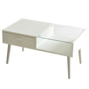 カフェテーブル ホワイト ガラス センターテーブル リビングテーブル|rocca-clann