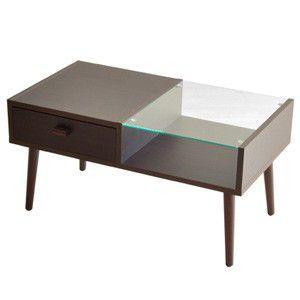 ソファ テーブル ブラウン 北欧 カフェ ガラス|rocca-clann