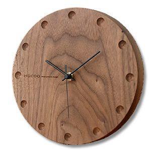 送料無料 Hacoa ハコア  壁掛け時計 ラウンド ウォールナット ウォールクロック|rocca-clann
