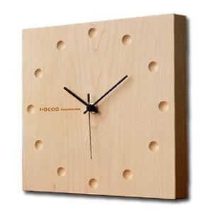 送料無料 Hacoa  ハコア 壁掛け時計 スクエア メープル 掛時計 ウォールクロック 木製 シンプル 正方形 四角 とけい|rocca-clann