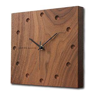 送料無料 Hacoa ハコア 壁掛け時計 スクエア ウォールナット 掛時計 ウォールクロック お洒落 ナチュラル ギフト プレゼント 工芸品|rocca-clann