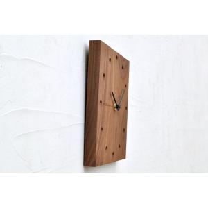 送料無料 Hacoa ハコア 壁掛け時計 スクエア ウォールナット 掛時計 ウォールクロック お洒落 ナチュラル ギフト プレゼント 工芸品|rocca-clann|03