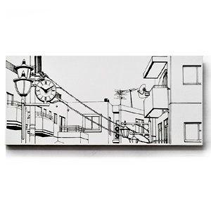 送料無料 キャンバスワークス Canvasworks 駅前の街並み 壁掛け時計 ウォールクロック 能登夫妻 アート プレゼント おもしろ雑貨 のとふさい rocca-clann