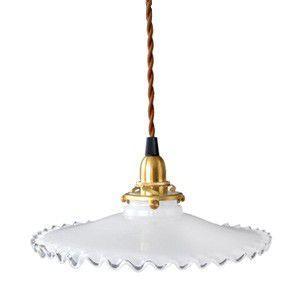 ミルクガラスペンダントランプ フリル 100cm アンティーク 照明器具 乳白ガラス 真鍮|rocca-clann