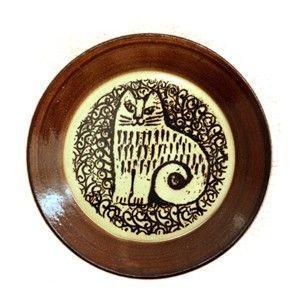 LisaLarson(リサラーソン)  益子の皿 ネコ(NINA)  猫 食器 プレート 北欧 お皿|rocca-clann
