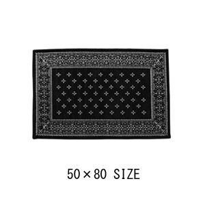 Cross Bandanna Rug 50 × 80 ブラック 黒 玄関マット クロスバンダナラグ ヴィンテージ柄 滑り止め ミッドセンチュリー 小さいラグ|rocca-clann