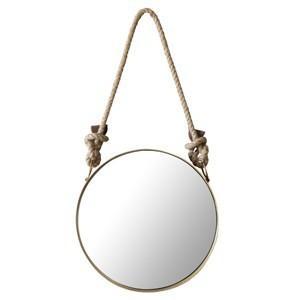 Wall Rope Mirror Round ウォールロープミラー ラウンド ウォールミラー 船窓 壁掛けミラー 壁掛け鏡 アンティーク 真鍮色 円形 マリンテイスト 内装|rocca-clann