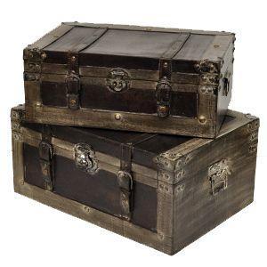 送料無料 ウッデン・トランクボックス 2点セット BO-01 大小サイズ  アンティーク 宝箱 収納 ディスプレイ 雑貨 店舗什器 結婚式|rocca-clann