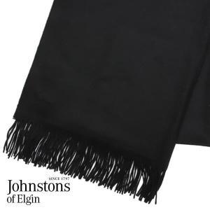 JOHNSTONS ジョンストンズ カシミア ストール 大判 無地 ブラック 190×70cm WA000056-SA0900『送料無料(一部地域除く)』 rocco-shop