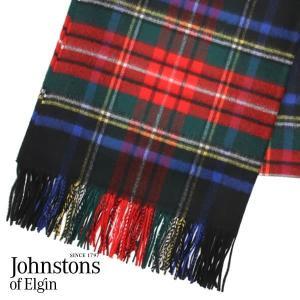 JOHNSTONS ジョンストンズ カシミア ストール 大判 タータンチェック ブラックスチュワート 190×70cm WA000056-KU0324『送料無料(一部地域除く)』 rocco-shop