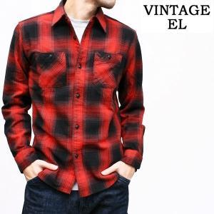 ヴィンテージイーエル VINTAGE E.L. ヘヴィーネル長袖オンブレーチェックシャツ (全4色)(02-75803)|rockingchair2822
